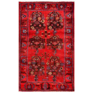 Herat Oriental Afghan Hand-knotted Tribal Balouchi Red/ Brown Wool Rug (2'10 x 4'6)