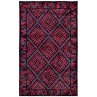 Herat Oriental Afghan Hand-knotted Tribal Balouchi Red/ Blue Wool Rug (2'9 x 4'6)