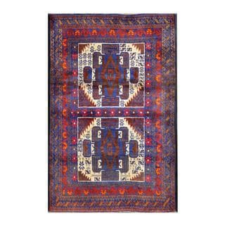 Herat Oriental Afghan Hand-knotted Tribal Balouchi Blue/ Ivory Wool Rug (2'9 x 4'3)