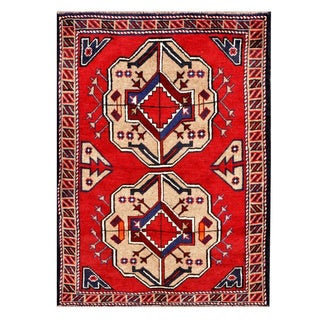 Herat Oriental Afghan Hand-knotted Tribal Balouchi Red/ Beige Wool Rug (2'10 x 3'11)