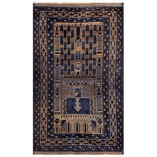 Herat Oriental Afghan Hand-knotted Tribal Balouchi Navy/ Beige Wool Rug (2'8 x 4'6)