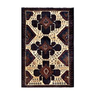 Herat Oriental Afghan Hand-knotted Tribal Balouchi Ivory/ Navy Wool Rug (2'6 x 3'10)