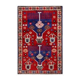 Herat Oriental Afghan Hand-knotted Tribal Balouchi Red/ Blue Wool Rug (2'7 x 4')