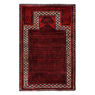 Herat Oriental Afghan Hand-knotted Tribal Balouchi Red/ Ivory Wool Rug (2'11 x 4'7)