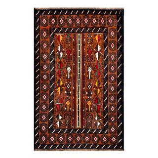 Herat Oriental Afghan Hand-knotted Tribal Balouchi Brown/ Ivory Wool Rug (2'8 x 4'3)