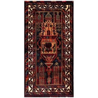 Herat Oriental Afghan Hand-knotted Tribal Balouchi Navy/ Light Brown Wool Rug (2'6 x 5'1)