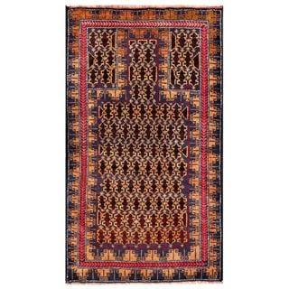 Herat Oriental Afghan Hand-knotted Tribal Balouchi Navy/ Gold Wool Rug (2'8 x 4'9)