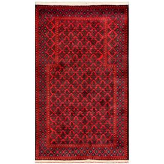 Herat Oriental Afghan Hand-knotted Tribal Balouchi Red/ Navy Wool Rug (2'9 x 4'10)