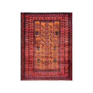 Herat Oriental Afghan Hand-knotted Tribal Balouchi Tan/ Red Wool Rug (3' x 4')