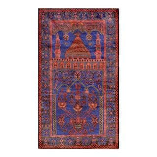 Herat Oriental Afghan Hand-knotted Tribal Balouchi Navy/ Red Wool Rug (2'9 x 4'9)