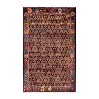 Herat Oriental Afghan Hand-knotted Tribal Balouchi Navy/ Brown Wool Rug (2'9 x 4'5)