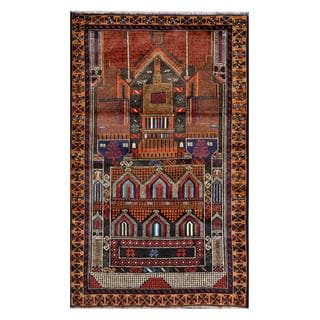 Herat Oriental Afghan Hand-knotted Tribal Balouchi Navy/ Brown Wool Rug (2'9 x 4'6)