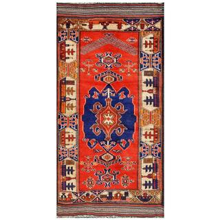 Herat Oriental Afghan Hand-knotted Tribal Balouchi Navy/ Red Wool Rug (2'8 x 5'4)
