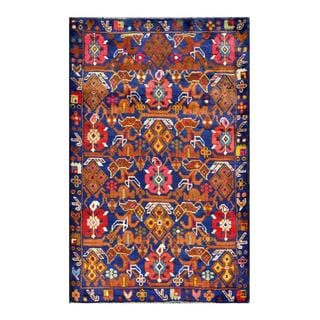 Herat Oriental Afghan Hand-knotted Tribal Balouchi Navy/ Brown Wool Rug (2'11 x 4'6)
