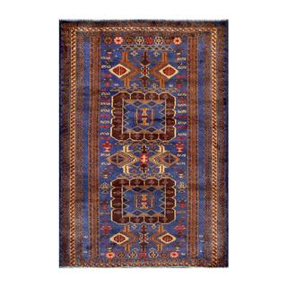 Herat Oriental Afghan Hand-knotted Tribal Balouchi Navy/ Brown Wool Rug (3' x 4'6)