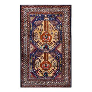 Herat Oriental Afghan Hand-knotted Tribal Balouchi Navy/ Brown Wool Rug (2'8 x 4'6)