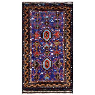 Herat Oriental Afghan Hand-knotted Tribal Balouchi Navy/ Brown Wool Rug (2'9 x 4'10)