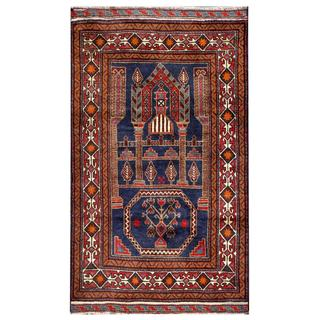 Herat Oriental Afghan Hand-knotted Tribal Balouchi Navy/ Red Wool Rug (2'7 x 4'7)