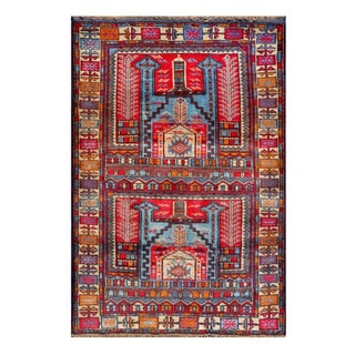 Herat Oriental Afghan Hand-knotted Tribal Balouchi Blue/ Red Wool Rug (2'9 x 4')