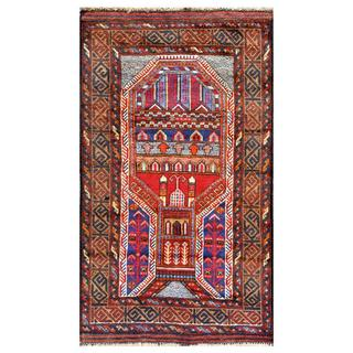 Herat Oriental Afghan Hand-knotted Tribal Balouchi Navy/ Red Wool Rug (2'6 x 4'4)