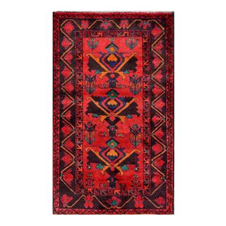 Herat Oriental Afghan Hand-knotted Tribal Balouchi Red/ Navy Wool Rug (2'6 x 4'1)