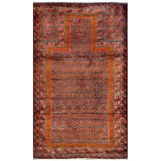 Herat Oriental Afghan Hand-knotted Tribal Balouchi Green/ Rust Wool Rug (3' x 4'3)