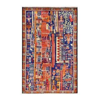 Herat Oriental Afghan Hand-knotted Tribal Balouchi Navy/ Red Wool Rug (2'11 x 4'5)