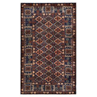Herat Oriental Afghan Hand-knotted Tribal Balouchi Navy/ Brown Wool Rug (3'2 x 5'2)