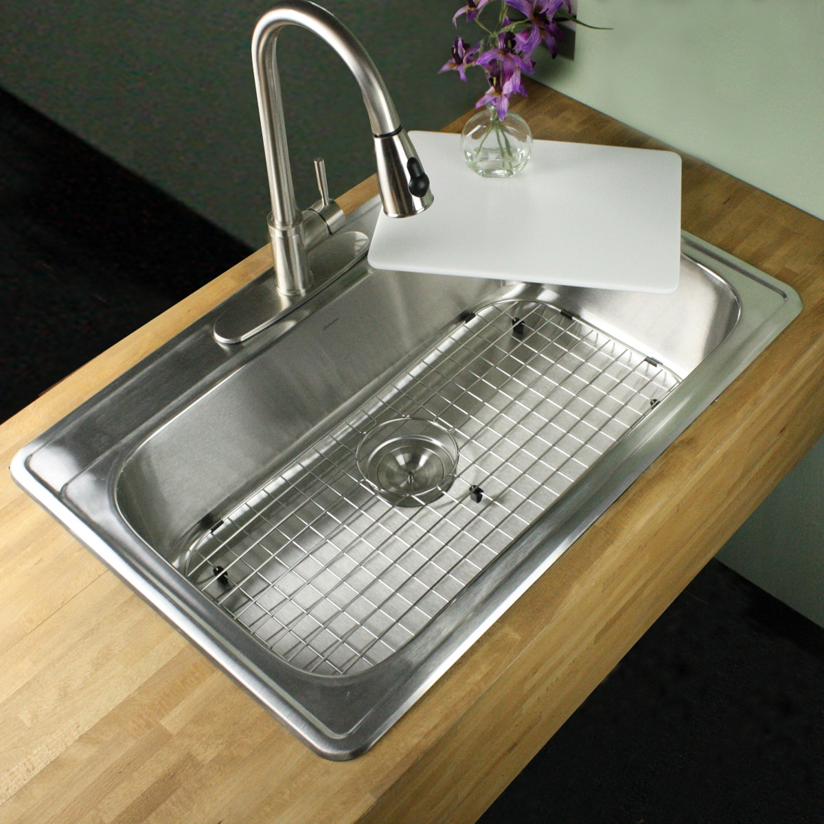 33 Inch 18 Gauge Stainless Steel Drop In Single Bowl Kitchen Sink With Cutting Board Drain And
