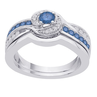 10k White Gold 2/3ct TDW Blue and White Diamond Bridal Ring Set (GH, I2-I3)