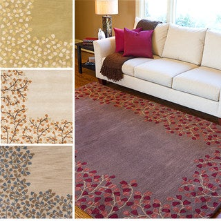 Hand-tufted Rome Floral Border Wool Area Rug (7'6 x 9'6)