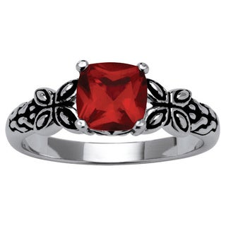 Lillith Star Sterling Silver Cushion-cut Crystal Birthstone Ring