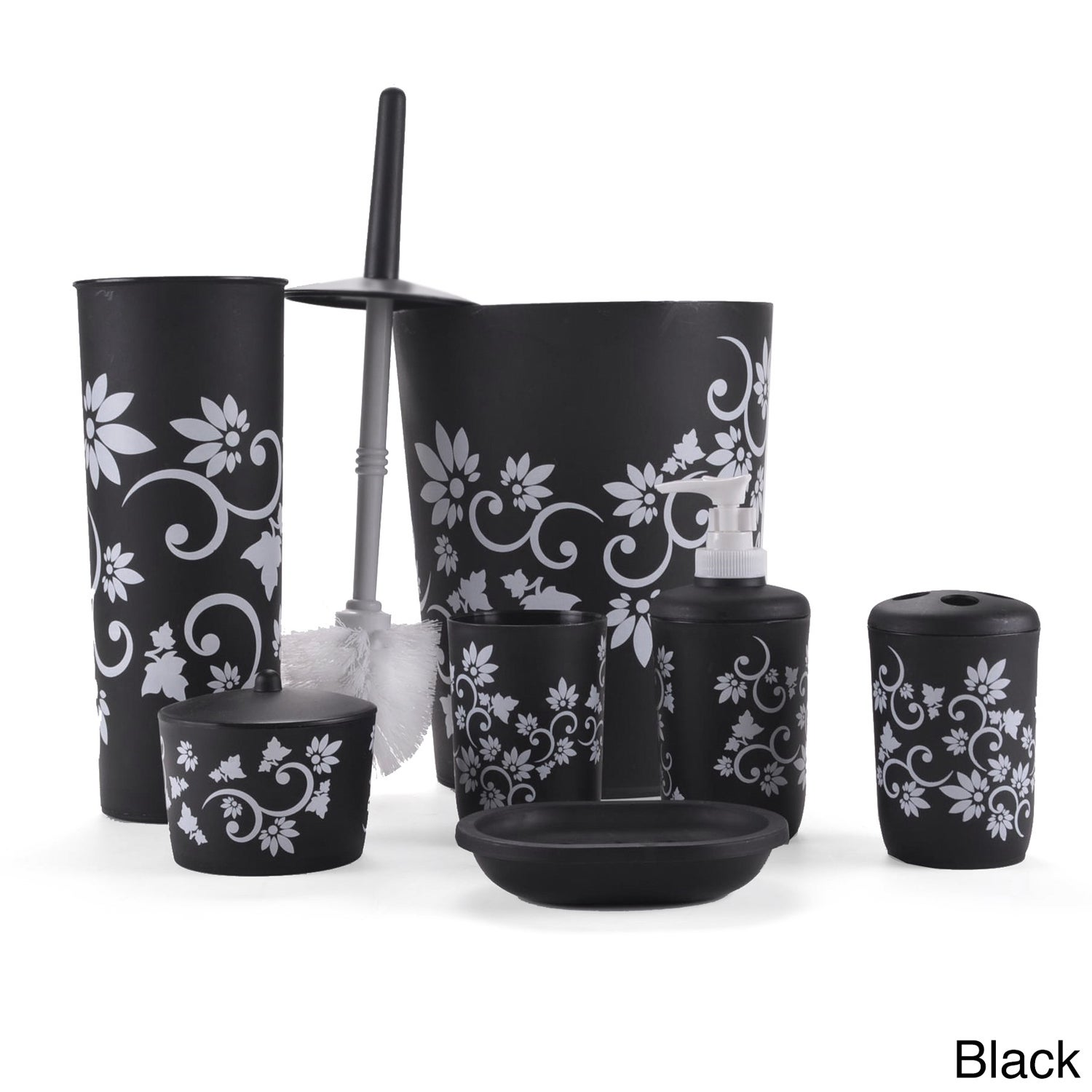 Floral 7 Piece Bath Accessory Set Overstock Shopping