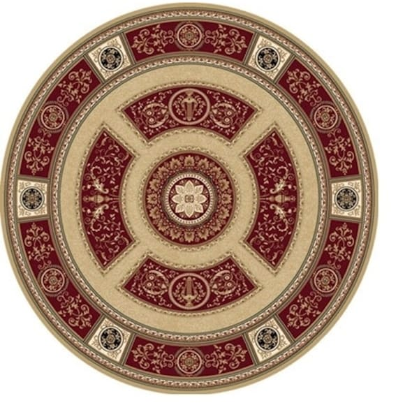 Sonorous Traditional Red Area Rug (5'2 Round)