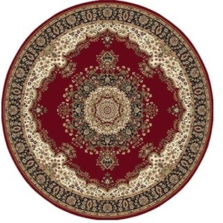 Round Traditional Red Area Rug (5'2 Round)