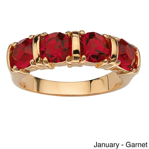 PalmBeach 18k Yellow Gold-plated Birthstone Crystal Channel Ring Color Fun