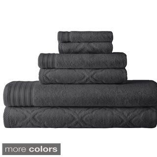 Geo Wave Jacquard/ Solid 6-piece Towel Set