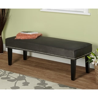 Grey Microfiber Nailhead Bench