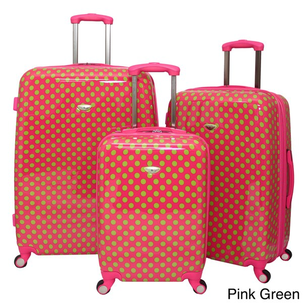 American Travel Polka Dot Expandable 3-piece Hardside Spinner Luggage Set