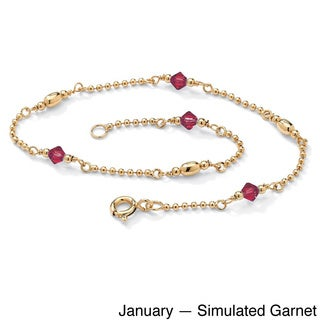 PalmBeach 14k Yellow Gold Over Silver Crystal Birthstone Beaded Ankle Bracelet Color Fun