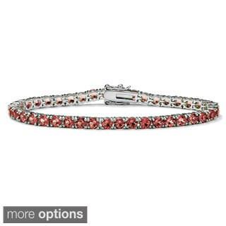 PalmBeach Silvertone Round Crystal Birthstone Tennis Bracelet Color Fun