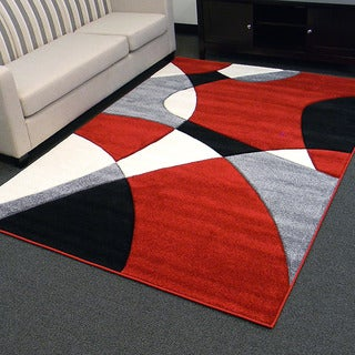 Hollywood Design-284 Abstract Wave Design Red Area Rug (5x7)