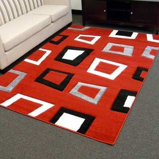 Hollywood Design-280 Red Geometric Square Design Area Rug (5x7)