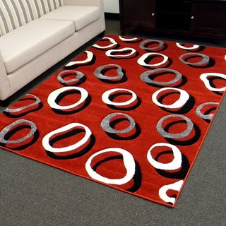 Hollywood Design-285 Red Geometric Small Double Circle Design Area Rug (5x7)