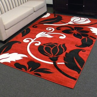 Hollywood Design-289 Red Flower and Vine Design Area Rug (5x7)