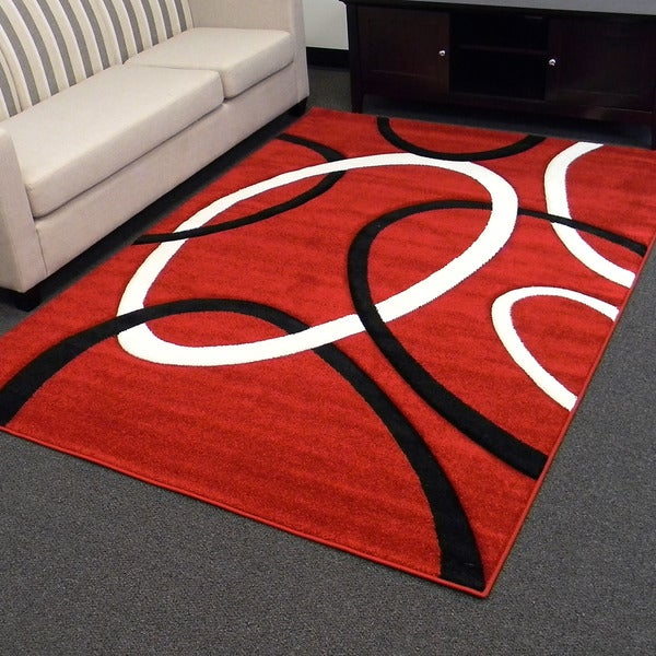 Hollywood Design-286 Red Geometric Circle Design Area Rug (5x7)