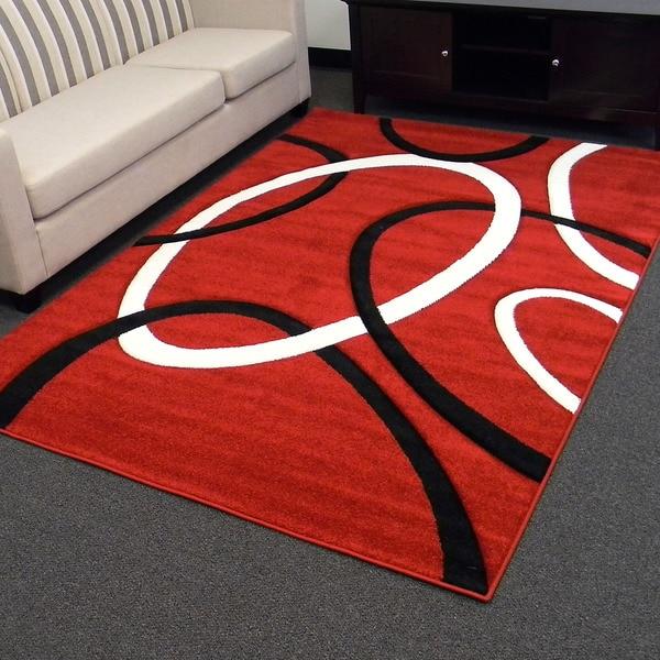 Hollywood Design-286 Red Geometric Circle Design Area Rug (5x7)