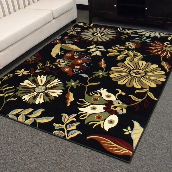 Tiffany Design-167 Black Floral Design Area Rug (5x7)