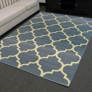 DonnieAnn Tiffany Design Geometric Pattern Blue Area Rug (5'x7')