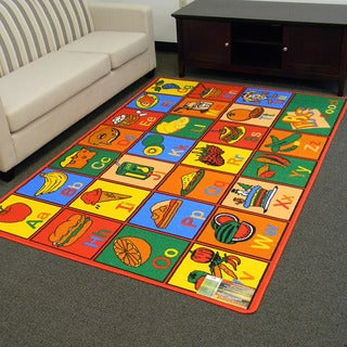 Paradise Multi-color Alphabet Food Design Area Rug (5x7)